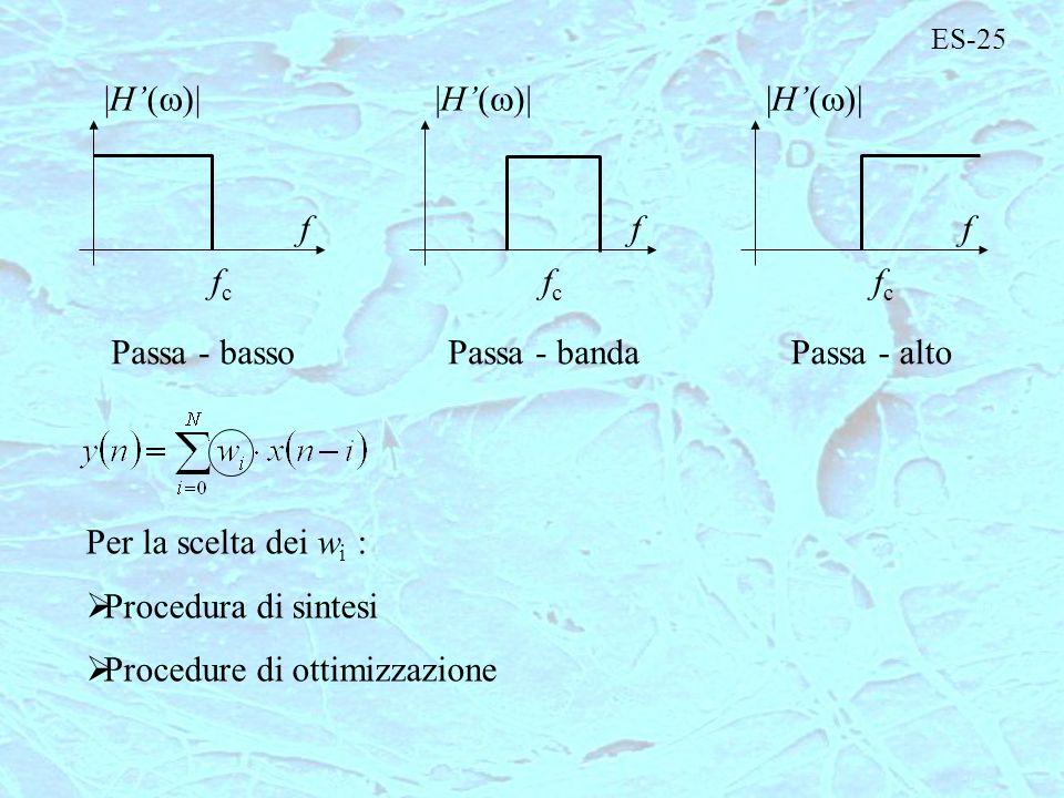 ES-25 fcfc f |H( )| fcfc f fcfc f Passa - bassoPassa - altoPassa - banda Per la scelta dei w i : Procedura di sintesi Procedure di ottimizzazione
