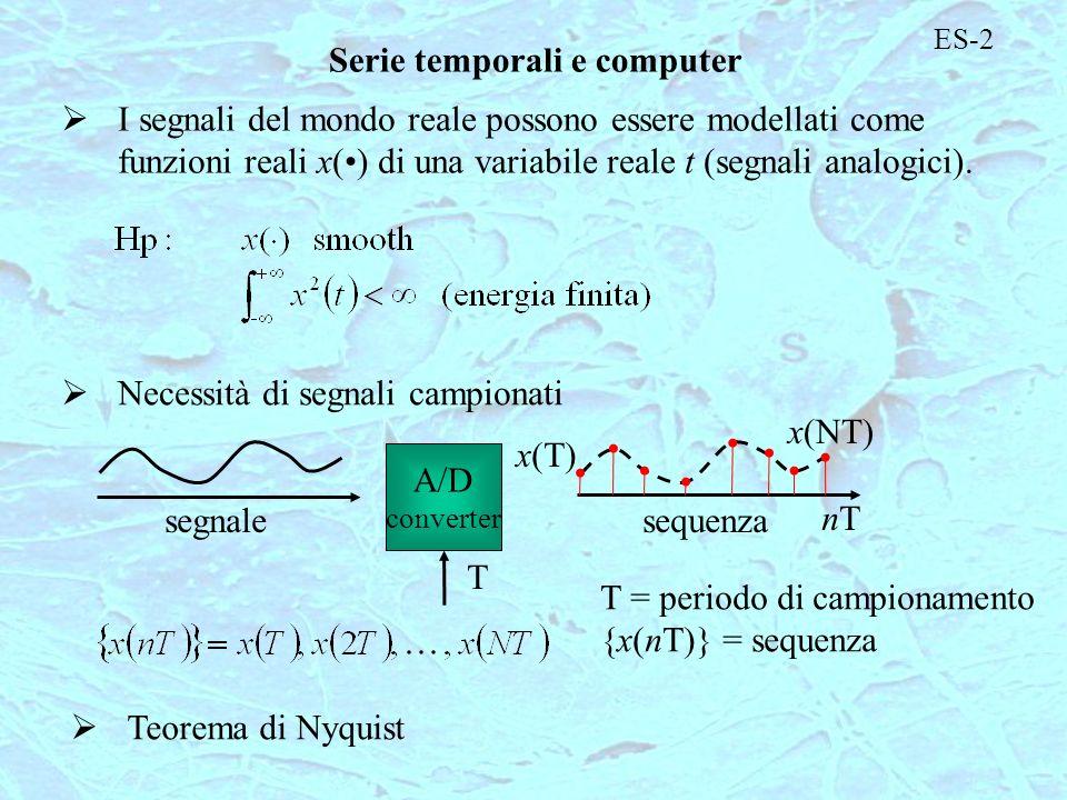 ES-2 Serie temporali e computer I segnali del mondo reale possono essere modellati come funzioni reali x() di una variabile reale t (segnali analogici