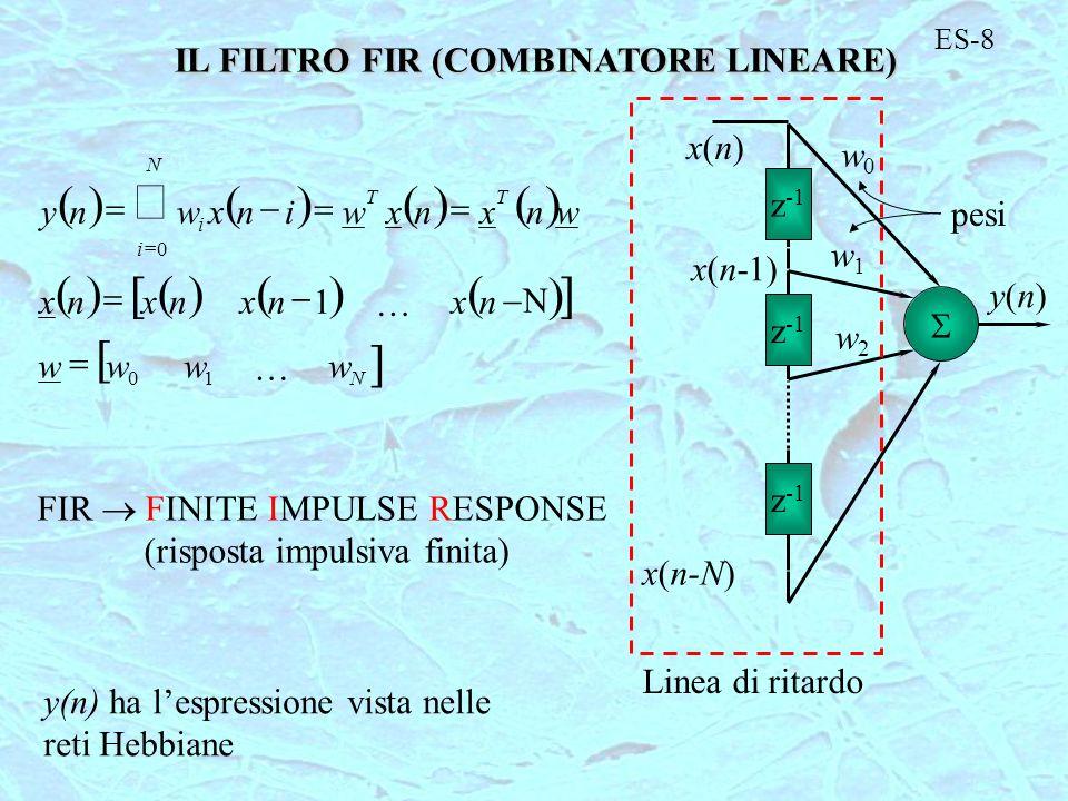 ES-8 IL FILTRO FIR (COMBINATORE LINEARE) 10 0 1 N T N i T i wwww nxnxnxnx wnxnxwinxwny z -1 y(n)y(n) x(n)x(n) x(n-1) x(n-N) w0w0 w1w1 w2w2 pesi Linea