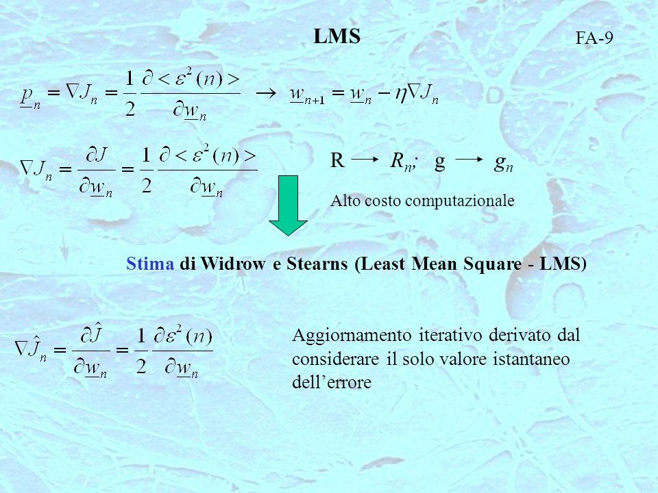 RRn;Rn;ggngn Alto costo computazionale FA-9 LMS Stima di Widrow e Stearns (Least Mean Square - LMS ) Aggiornamento iterativo derivato dal considerare