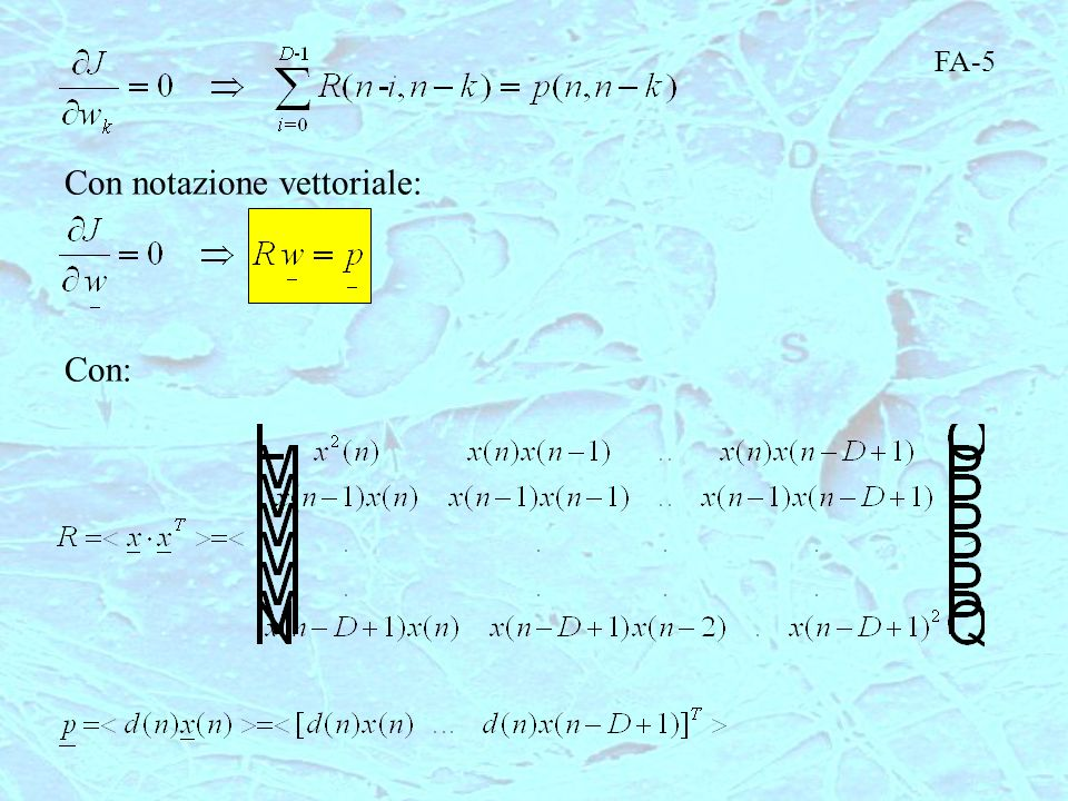 FA-5 Con notazione vettoriale: Con: