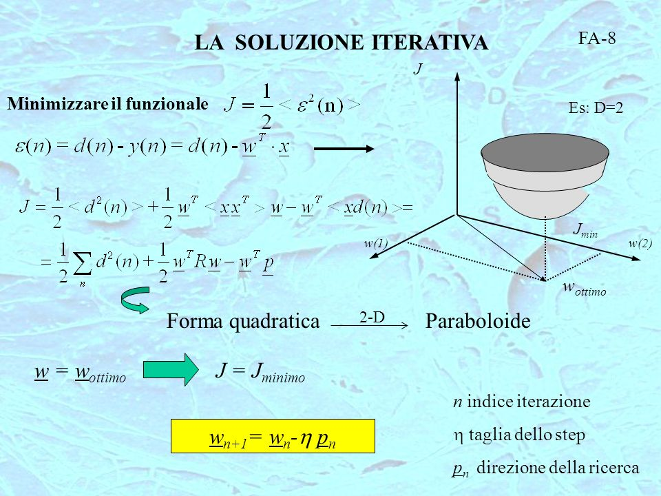 FA-8 Minimizzare il funzionale J LA SOLUZIONE ITERATIVA Es: D=2 w(1)w(2) J min w ottimo ParaboloideForma quadratica 2-D J = J minimo w = w ottimo w n+