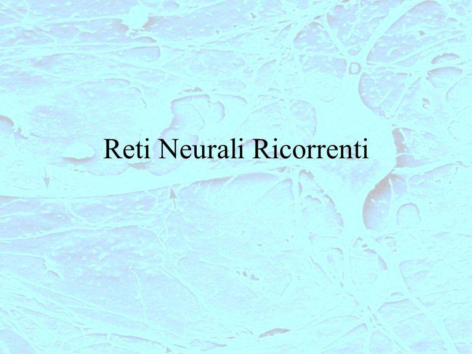 RETI NEURALI RICORRENTI RR-1 TLFN focused Elaborazione di informazione temporale La memoria è portata dentro la rete TLFN focused TLFN distribuite Reti ricorrenti Semplice addestramento Sono presenti connessioni ricorrenti tra neuroni diversi