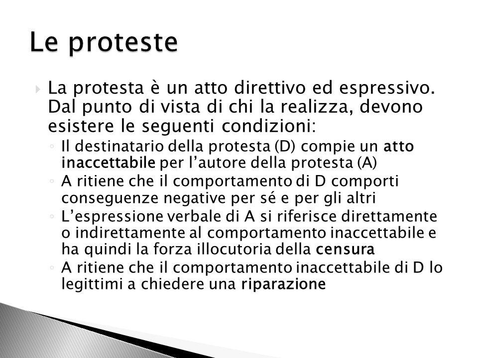 La protesta è un atto direttivo ed espressivo.
