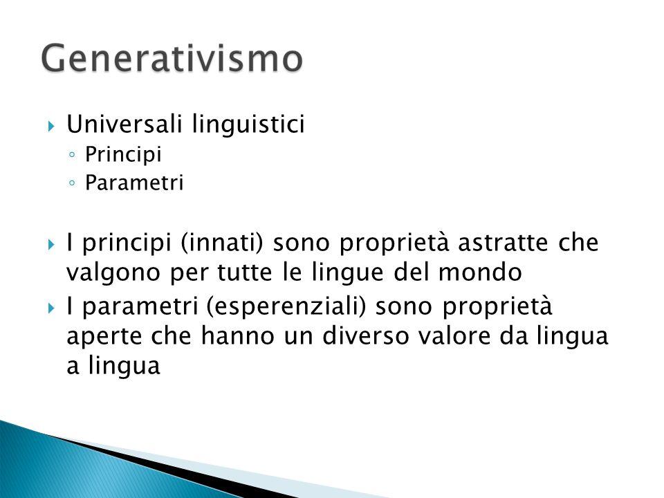 Universali linguistici Principi Parametri I principi (innati) sono proprietà astratte che valgono per tutte le lingue del mondo I parametri (esperenziali) sono proprietà aperte che hanno un diverso valore da lingua a lingua