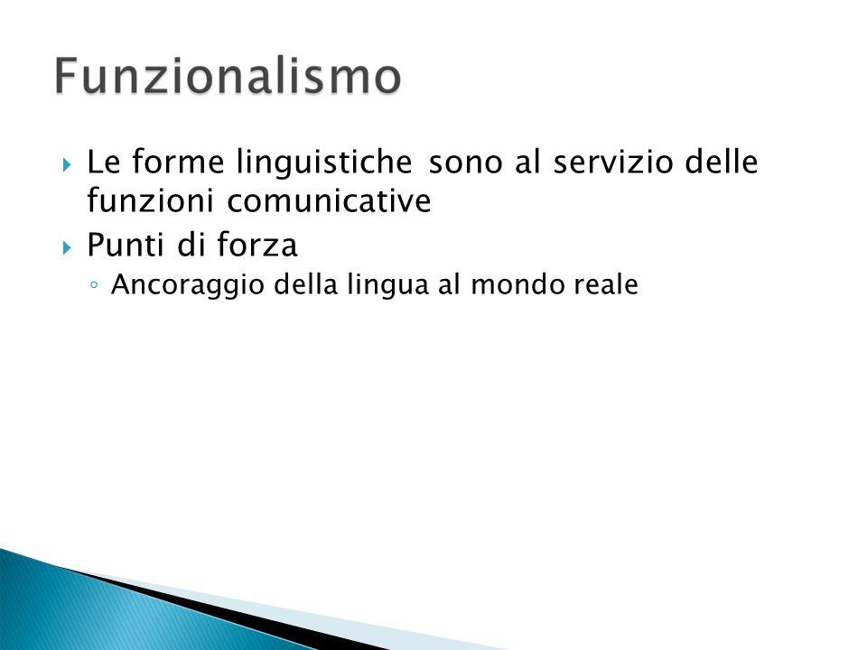 Le forme linguistiche sono al servizio delle funzioni comunicative Punti di forza Ancoraggio della lingua al mondo reale