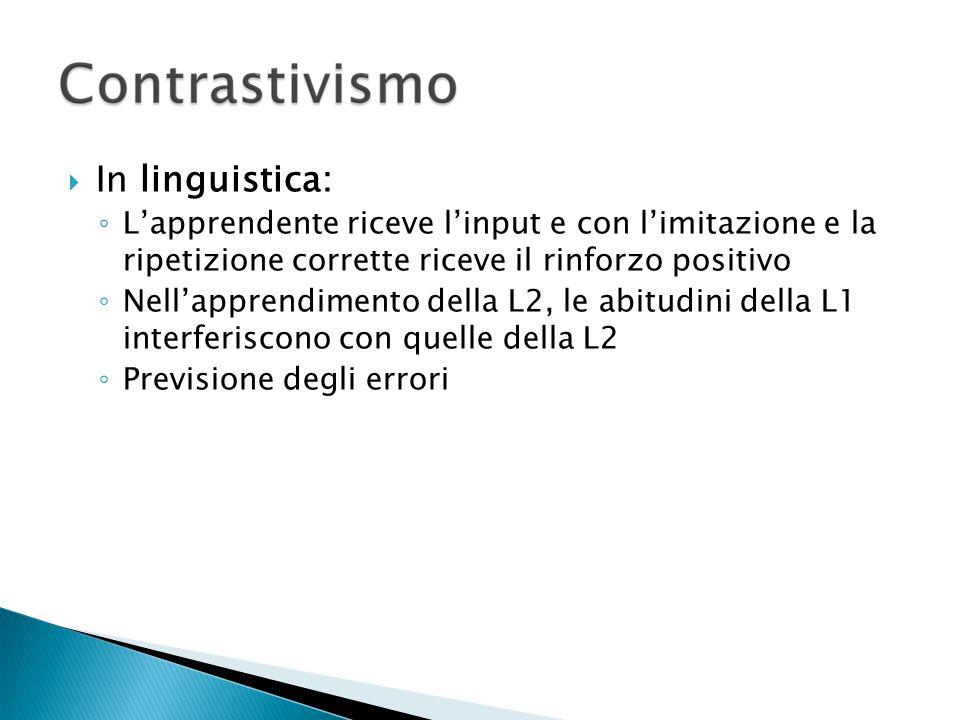 In linguistica: Lapprendente riceve linput e con limitazione e la ripetizione corrette riceve il rinforzo positivo Nellapprendimento della L2, le abitudini della L1 interferiscono con quelle della L2 Previsione degli errori