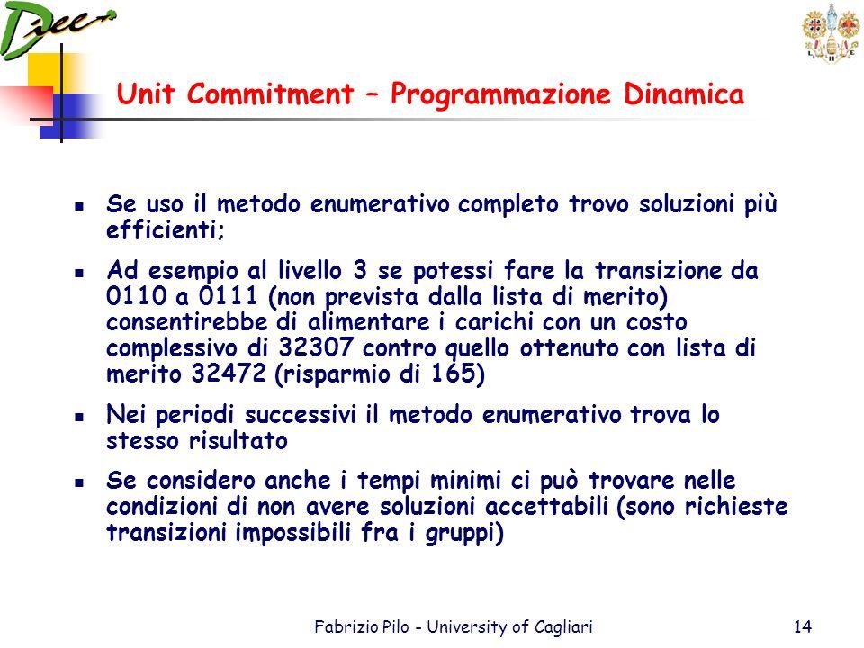 Unit Commitment – Programmazione Dinamica Fabrizio Pilo - University of Cagliari13 La transizione da 2 a 3 (Carico 600 MW) può essere soddisfatta da d