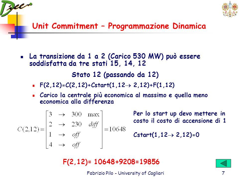 Unit Commitment – Programmazione Dinamica Fabrizio Pilo - University of Cagliari7 La transizione da 1 a 2 (Carico 530 MW) può essere soddisfatta da tre stati 15, 14, 12 Stato 12 (passando da 12) F(2,12)=C(2,12)+Cstart(1,12 2,12)+F(1,12) Carico la centrale più economica al massimo e quella meno economica alla differenza Per lo start up devo mettere in costo il costo di accensione di 1 Cstart(1,12 2,12)=0 F(2,12)= 10648+9208=19856
