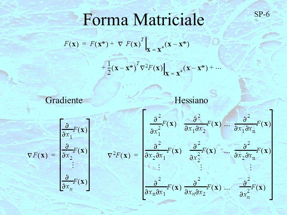 Forma Matriciale F x F x F x T xx = xx – += 1 2 --- xx – T F x xx = xx – 2 ++ F x x 1 F x x 2 F x x n F x = GradienteHessiano SP-6