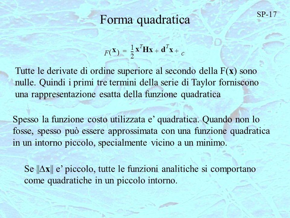 1 F x 2 --- x T Hxd T x c ++= Forma quadratica Tutte le derivate di ordine superiore al secondo della F(x) sono nulle. Quindi i primi tre termini dell