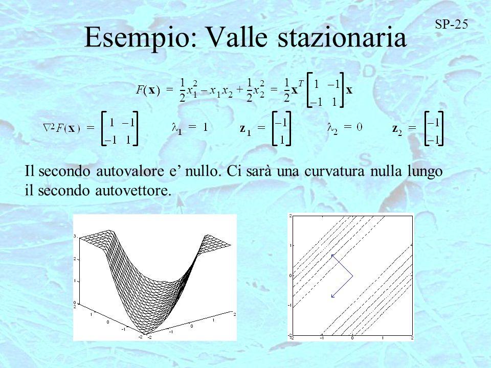 Esempio: Valle stazionaria F x 1 2 ---x 1 2 x 1 x 2 – 1 2 ---x 2 2 + 1 2 --- x T 11– 1–1 x == Il secondo autovalore e nullo. Ci sarà una curvatura nul