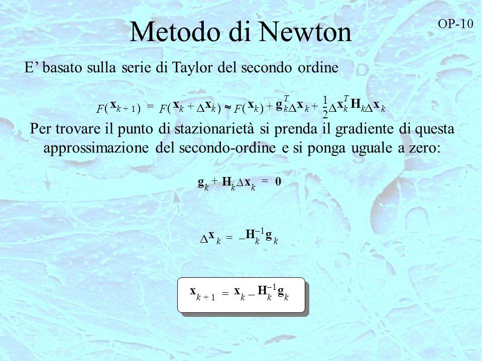 Metodo di Newton F x k1+ F x k x k + F x k g k T x k 1 2 --- x k T H k x k ++ = g k H k x k + 0 = Per trovare il punto di stazionarietà si prenda il g
