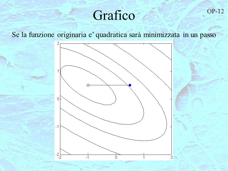 Grafico Se la funzione originaria e quadratica sarà minimizzata in un passo OP-12