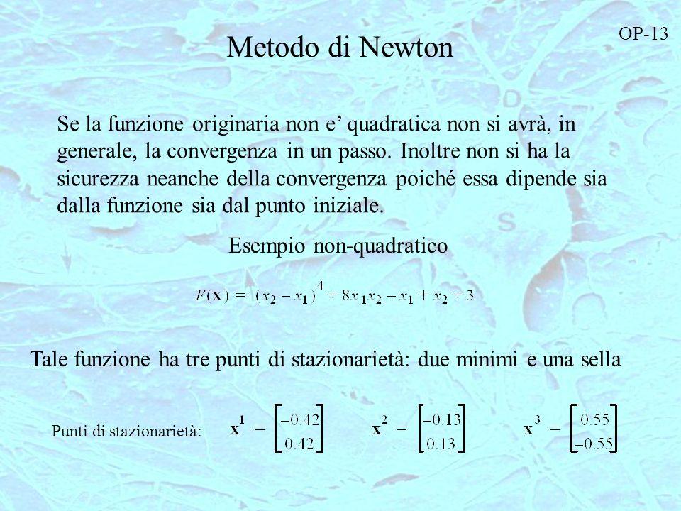 Metodo di Newton Se la funzione originaria non e quadratica non si avrà, in generale, la convergenza in un passo. Inoltre non si ha la sicurezza neanc