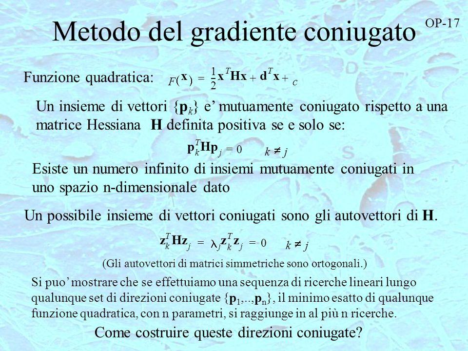 Metodo del gradiente coniugato 1 F x 2 --- x T Hxd T x c ++= p k T Hp j 0= kj Un insieme di vettori {p k } e mutuamente coniugato rispetto a una matri