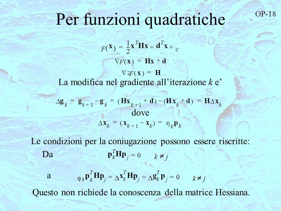 Per funzioni quadratiche F x Hxd += F x 2 H = g k g k1+ g k – Hx k1+ d + Hx k d + – Hx k === x k x k1+ x k – k p k == k p k T Hp j x k T Hp j g k T p