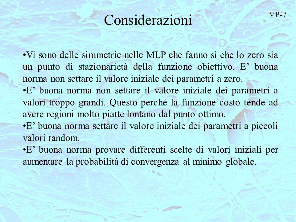Considerazioni Vi sono delle simmetrie nelle MLP che fanno sì che lo zero sia un punto di stazionarietà della funzione obiettivo. E buona norma non se