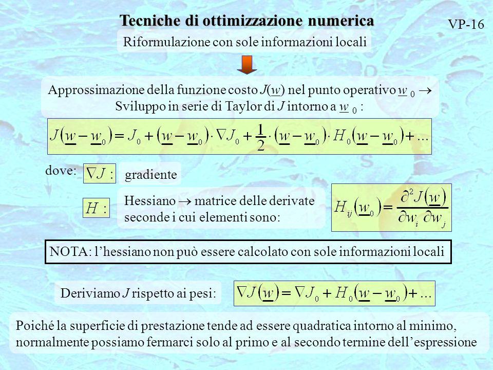 Tecniche di ottimizzazione numerica Riformulazione con sole informazioni locali Approssimazione della funzione costo J(w) nel punto operativo w 0 Svil