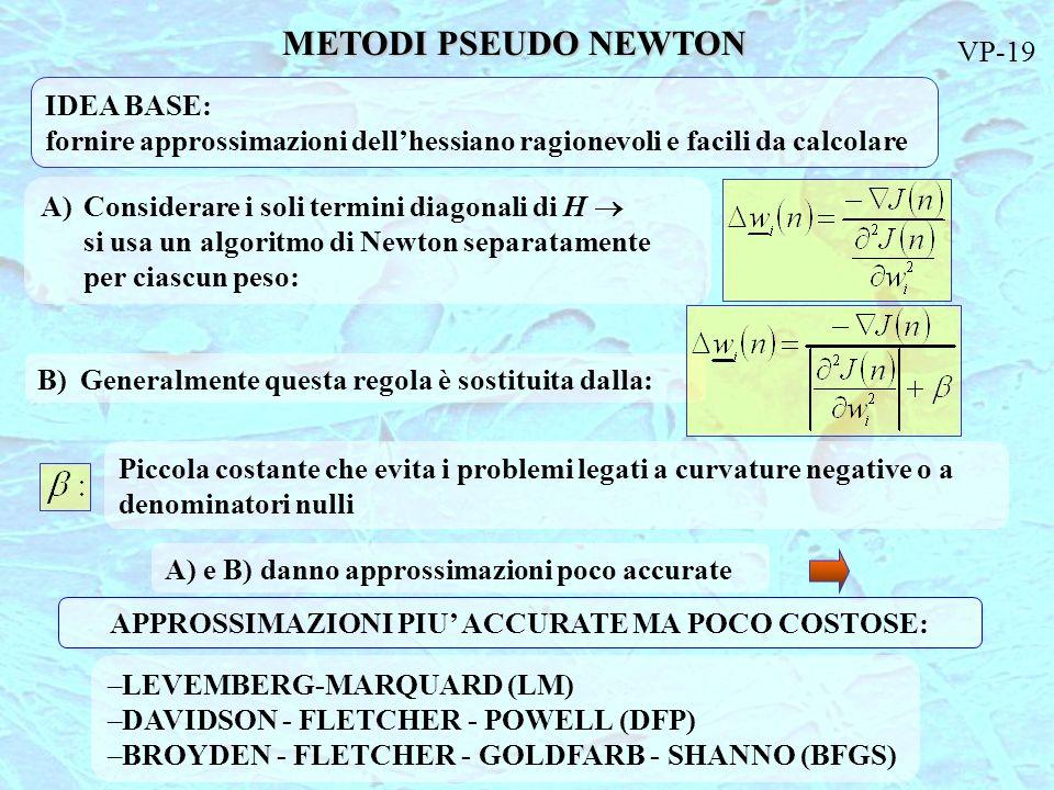 METODI PSEUDO NEWTON IDEA BASE: fornire approssimazioni dellhessiano ragionevoli e facili da calcolare A) Considerare i soli termini diagonali di H si