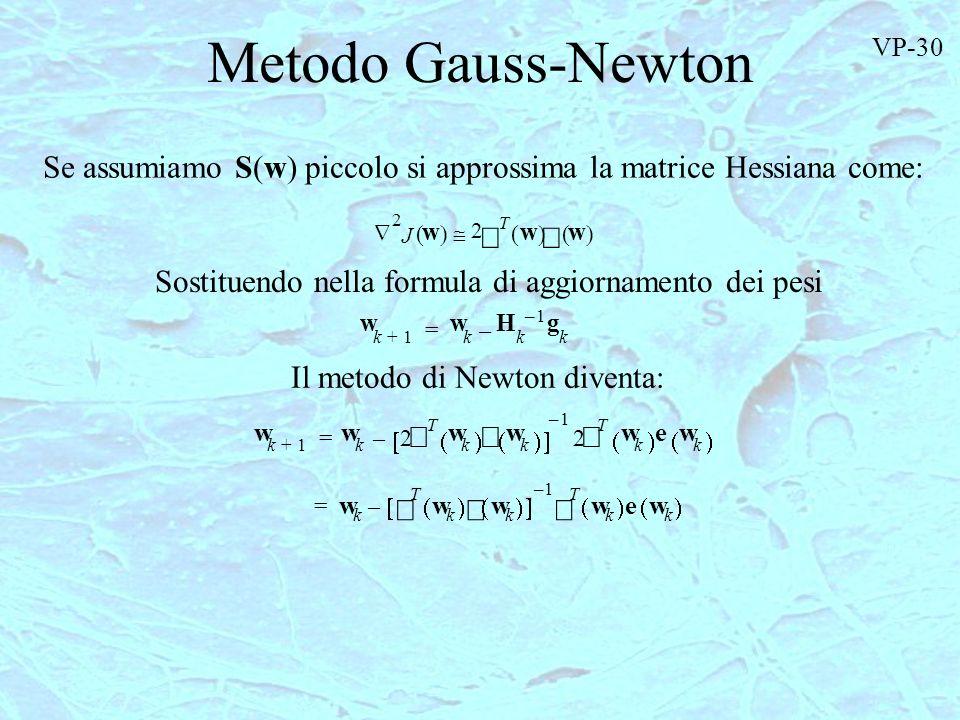 Metodo Gauss-Newton J w 2 2 T w w w k1+ w k 2 T w k w k 1– 2 T w k ew k –= w k T w k w k 1– T w k ew k –= Se assumiamo S(w) piccolo si approssima la m