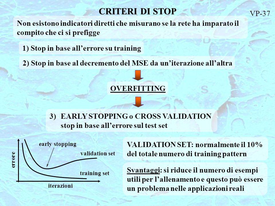 CRITERI DI STOP Non esistono indicatori diretti che misurano se la rete ha imparato il compito che ci si prefigge 1) Stop in base allerrore su trainin