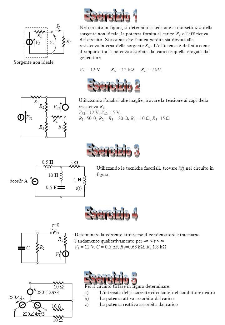 VSVS RSRS RLRL Sorgente non ideale VTVT ITIT Nel circuito in figura, si determini la tensione ai morsetti a-b della sorgente non ideale, la potenza fornita al carico R L e lefficienza del circuito.