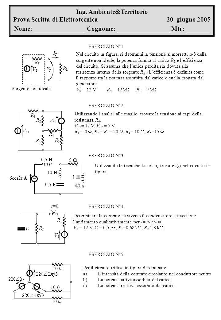 Ing. Ambiente&Territorio Prova Scritta di Elettrotecnica 20 giugno 2005 Nome: _______________ Cognome: ________________ Mtr: _______ VSVS RSRS RLRL So
