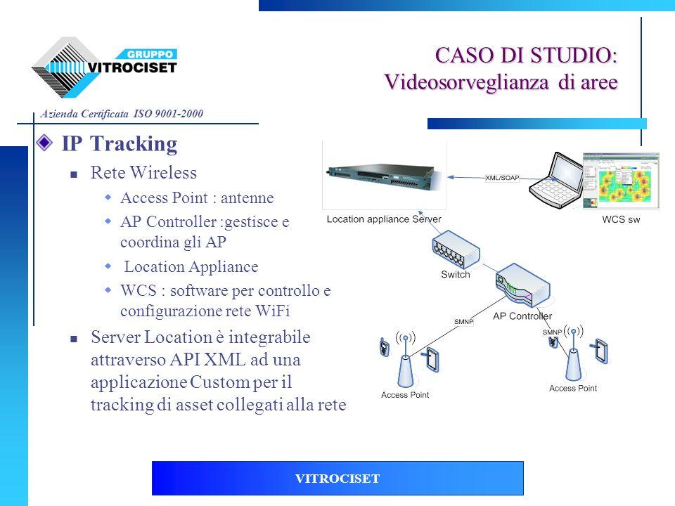 Azienda Certificata ISO 9001-2000 VITROCISET IP Tracking Rete Wireless Access Point : antenne AP Controller :gestisce e coordina gli AP Location Appli