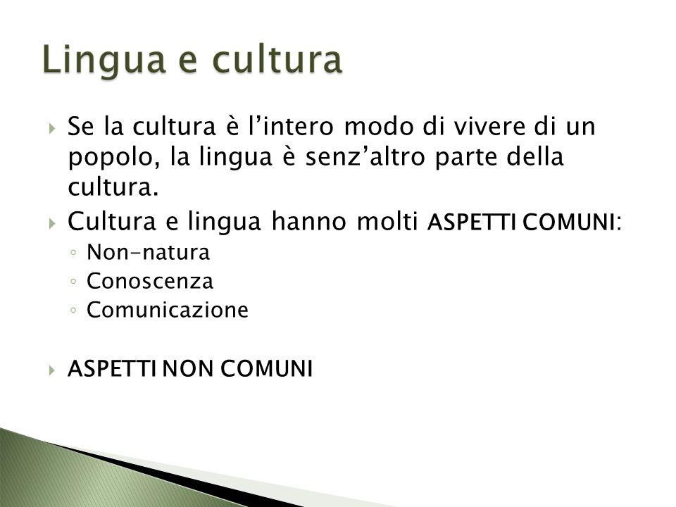 Se la cultura è lintero modo di vivere di un popolo, la lingua è senzaltro parte della cultura.