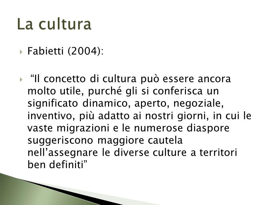 Fabietti (2004): Il concetto di cultura può essere ancora molto utile, purché gli si conferisca un significato dinamico, aperto, negoziale, inventivo, più adatto ai nostri giorni, in cui le vaste migrazioni e le numerose diaspore suggeriscono maggiore cautela nellassegnare le diverse culture a territori ben definiti