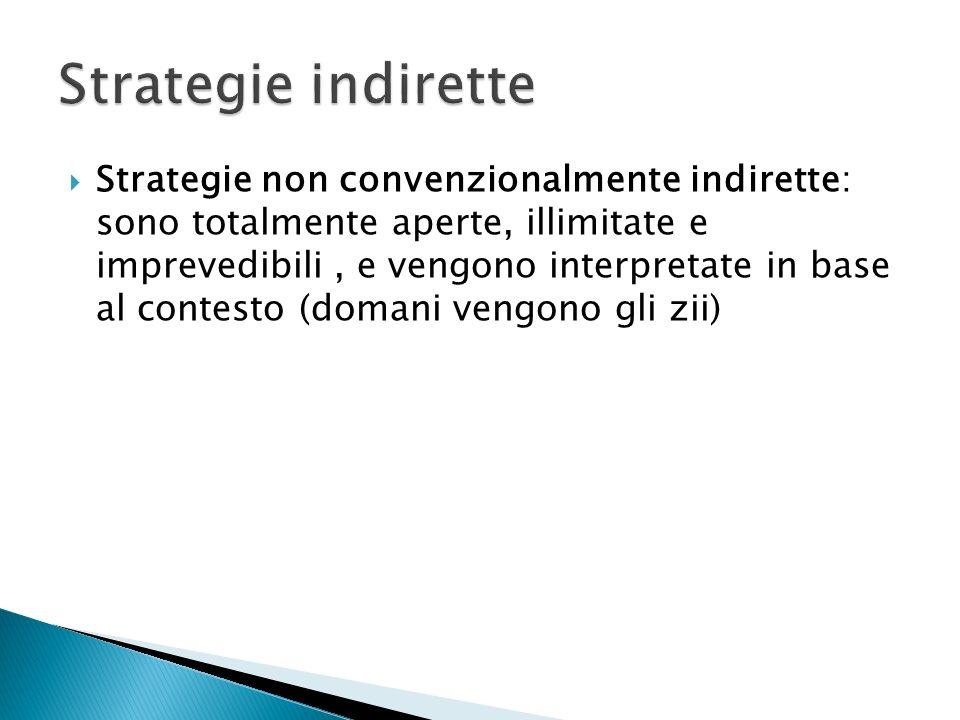 Strategie non convenzionalmente indirette: sono totalmente aperte, illimitate e imprevedibili, e vengono interpretate in base al contesto (domani vengono gli zii)