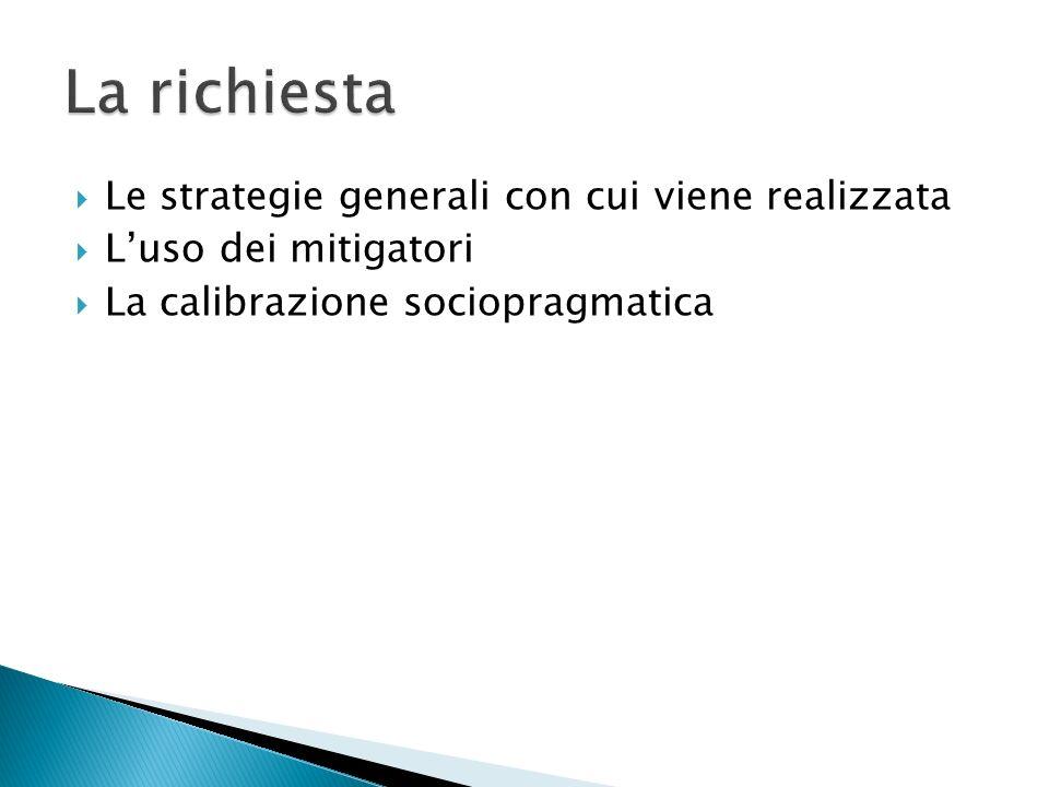 Le strategie generali con cui viene realizzata Luso dei mitigatori La calibrazione sociopragmatica
