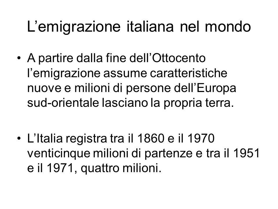 Lemigrazione italiana nel mondo A partire dalla fine dellOttocento lemigrazione assume caratteristiche nuove e milioni di persone dellEuropa sud-orien