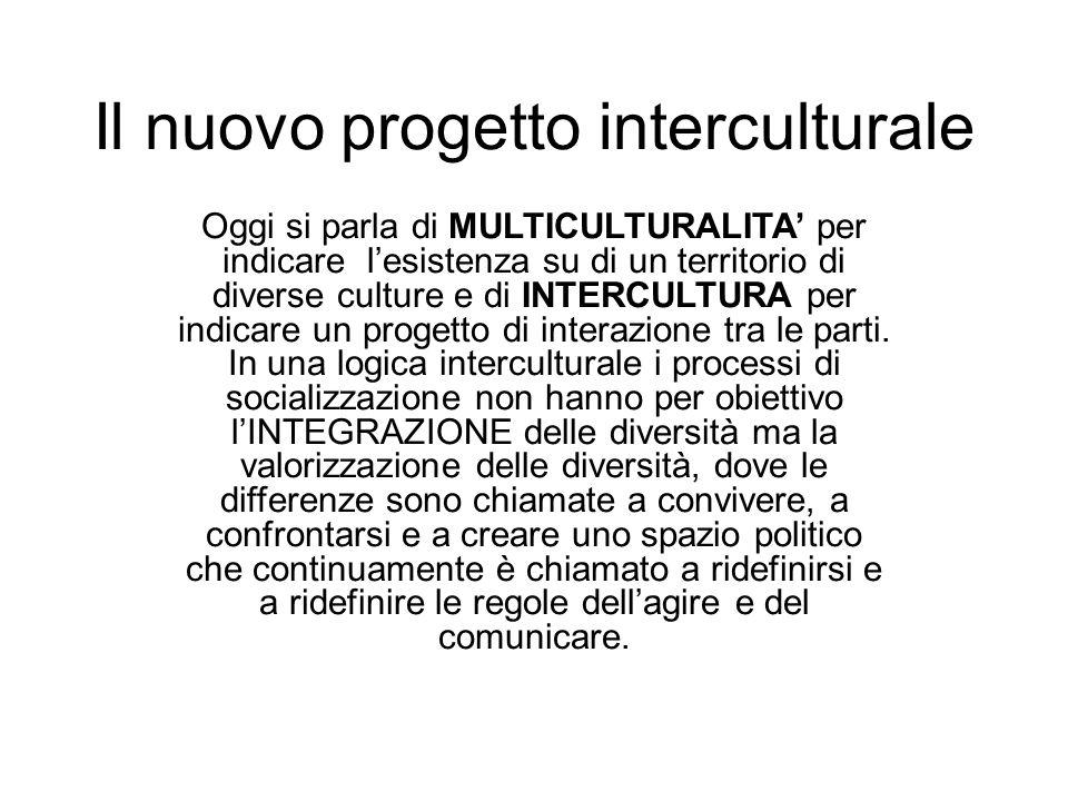 Il nuovo progetto interculturale Oggi si parla di MULTICULTURALITA per indicare lesistenza su di un territorio di diverse culture e di INTERCULTURA pe