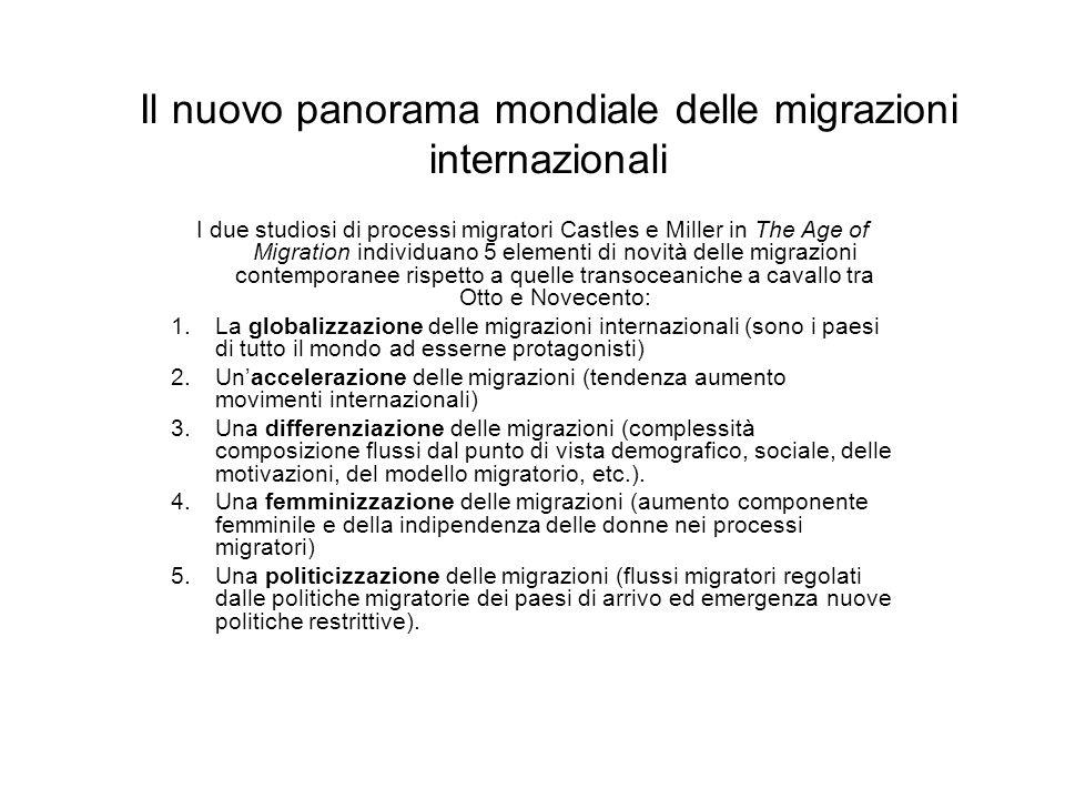 Il nuovo panorama mondiale delle migrazioni internazionali I due studiosi di processi migratori Castles e Miller in The Age of Migration individuano 5