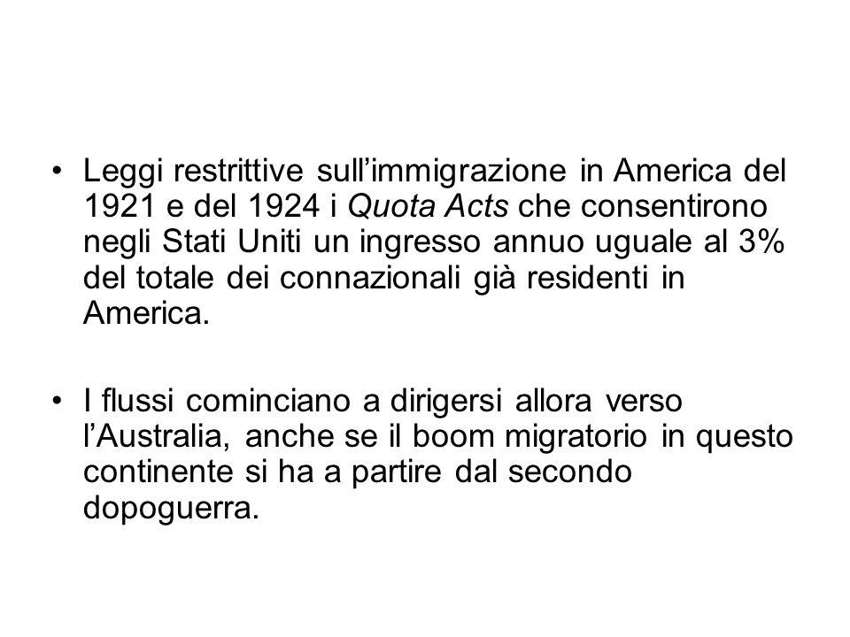Leggi restrittive sullimmigrazione in America del 1921 e del 1924 i Quota Acts che consentirono negli Stati Uniti un ingresso annuo uguale al 3% del t
