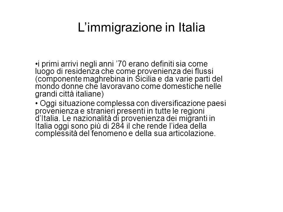 Limmigrazione in Italia i primi arrivi negli anni 70 erano definiti sia come luogo di residenza che come provenienza dei flussi (componente maghrebina