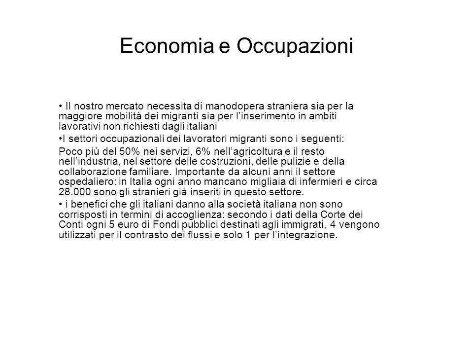 Economia e Occupazioni Il nostro mercato necessita di manodopera straniera sia per la maggiore mobilità dei migranti sia per linserimento in ambiti la