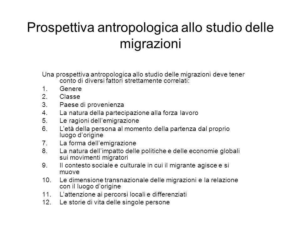 Prospettiva antropologica allo studio delle migrazioni Una prospettiva antropologica allo studio delle migrazioni deve tener conto di diversi fattori