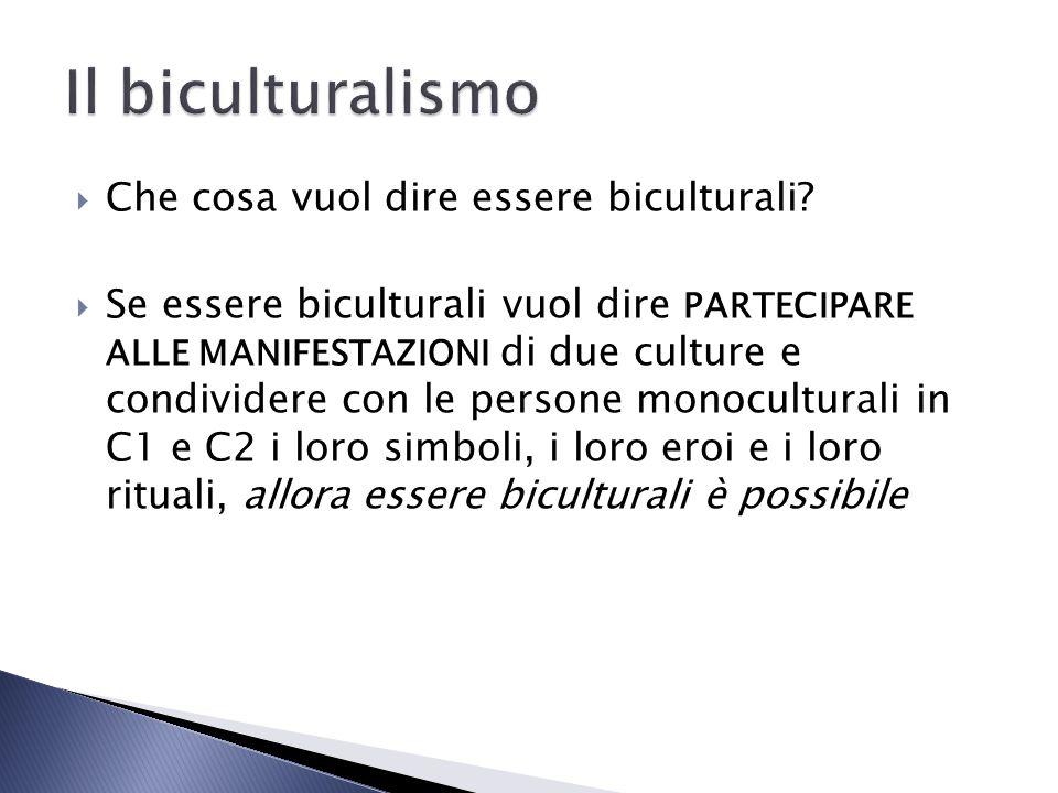 Che cosa vuol dire essere biculturali? Se essere biculturali vuol dire PARTECIPARE ALLE MANIFESTAZIONI di due culture e condividere con le persone mon