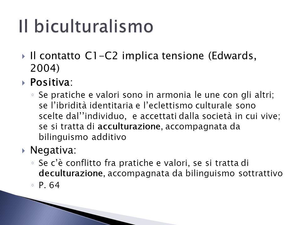 Il contatto C1-C2 implica tensione (Edwards, 2004) Positiva: Se pratiche e valori sono in armonia le une con gli altri; se libridità identitaria e lec