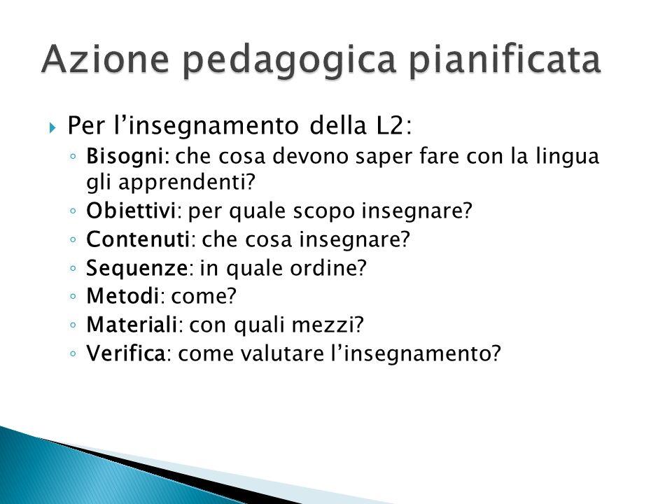 Per linsegnamento della L2: Bisogni: che cosa devono saper fare con la lingua gli apprendenti.