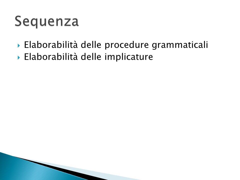 Elaborabilità delle procedure grammaticali Elaborabilità delle implicature