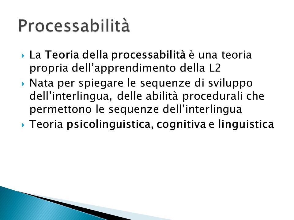 La Teoria della processabilità è una teoria propria dellapprendimento della L2 Nata per spiegare le sequenze di sviluppo dellinterlingua, delle abilità procedurali che permettono le sequenze dellinterlingua Teoria psicolinguistica, cognitiva e linguistica