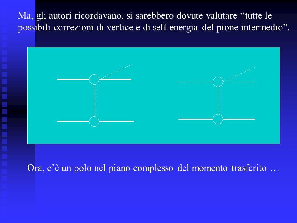 Ma, gli autori ricordavano, si sarebbero dovute valutare tutte le possibili correzioni di vertice e di self-energia del pione intermedio.