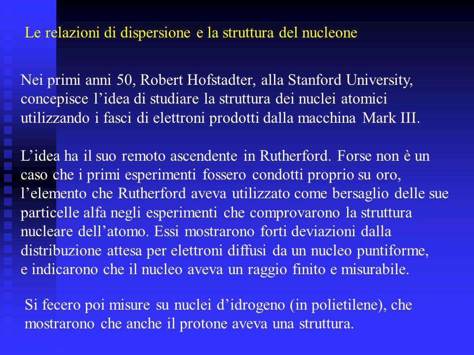 Nei primi anni 50, Robert Hofstadter, alla Stanford University, concepisce lidea di studiare la struttura dei nuclei atomici utilizzando i fasci di elettroni prodotti dalla macchina Mark III.