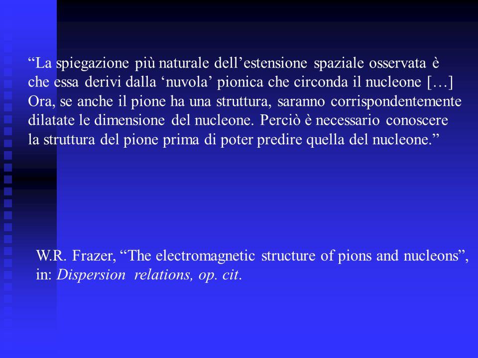La spiegazione più naturale dellestensione spaziale osservata è che essa derivi dalla nuvola pionica che circonda il nucleone […] Ora, se anche il pione ha una struttura, saranno corrispondentemente dilatate le dimensione del nucleone.