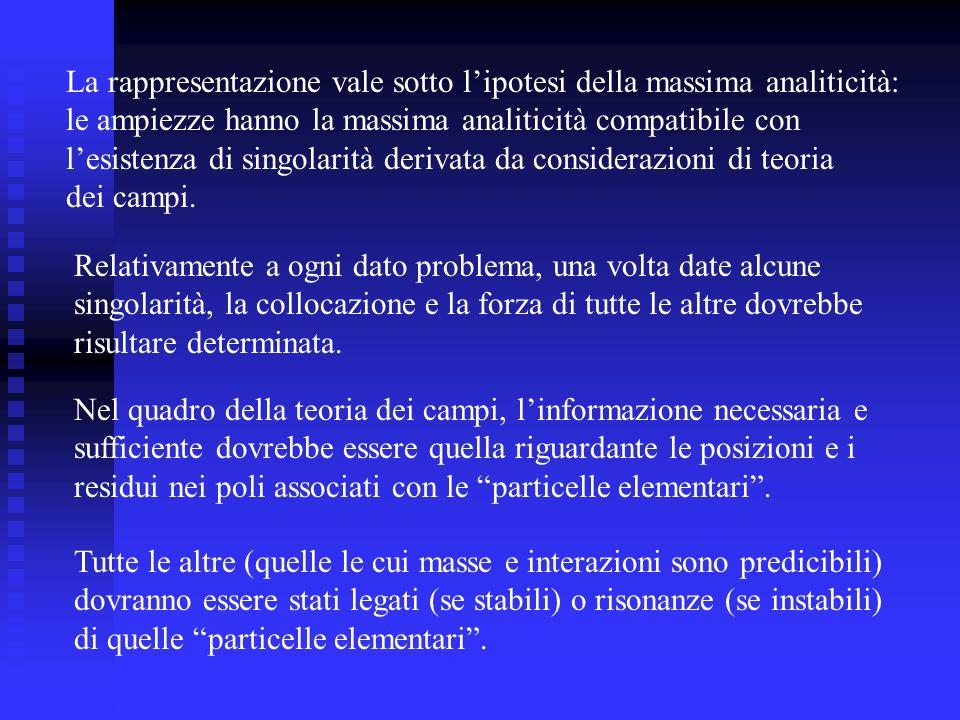 La rappresentazione vale sotto lipotesi della massima analiticità: le ampiezze hanno la massima analiticità compatibile con lesistenza di singolarità derivata da considerazioni di teoria dei campi.
