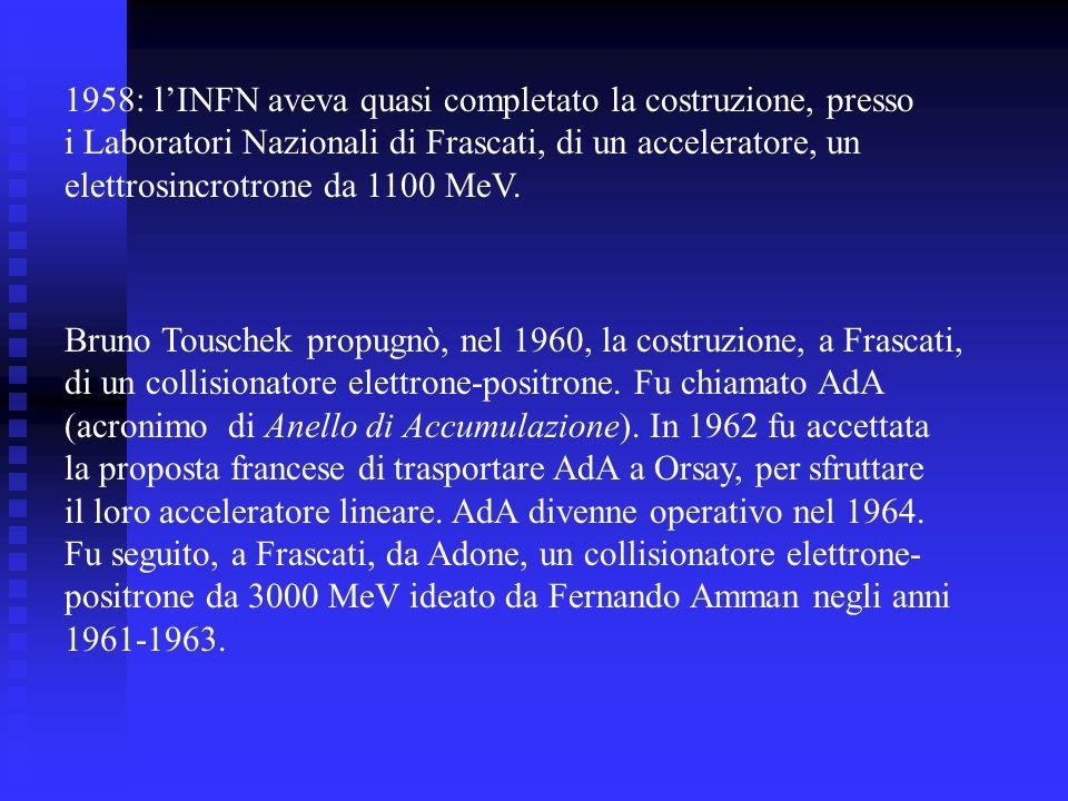 Bruno Touschek propugnò, nel 1960, la costruzione, a Frascati, di un collisionatore elettrone-positrone.